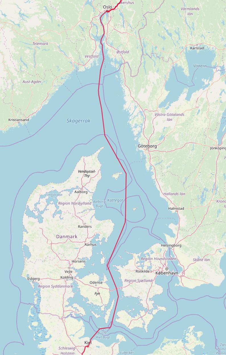 Carte OpenStreetMap du trajet Kiel - Solo