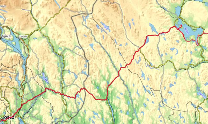 Carte OpenTopoMap de la zone entre Oslo et le Lac Siljan