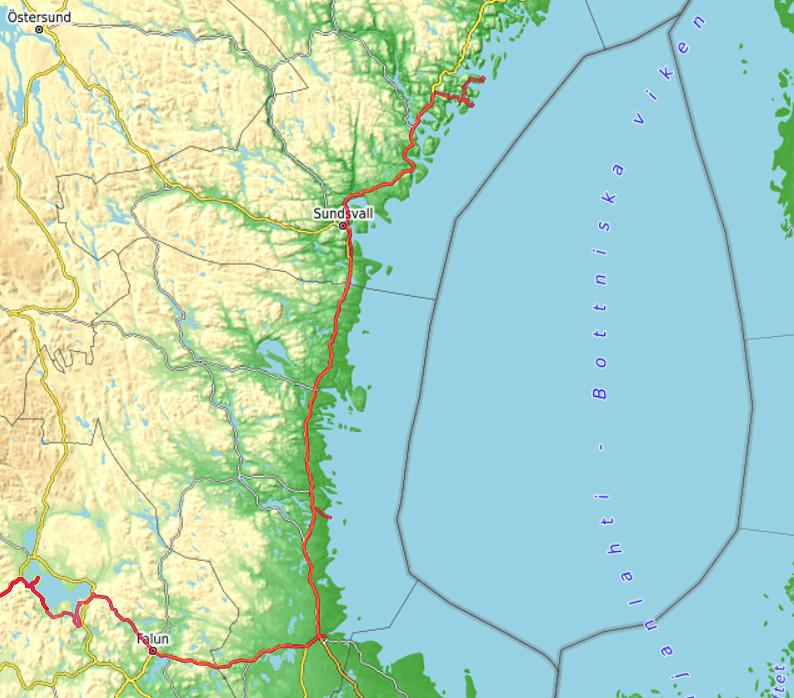 Carte OpenTopoMap entre le Lac Siljan et Norrfällsviken
