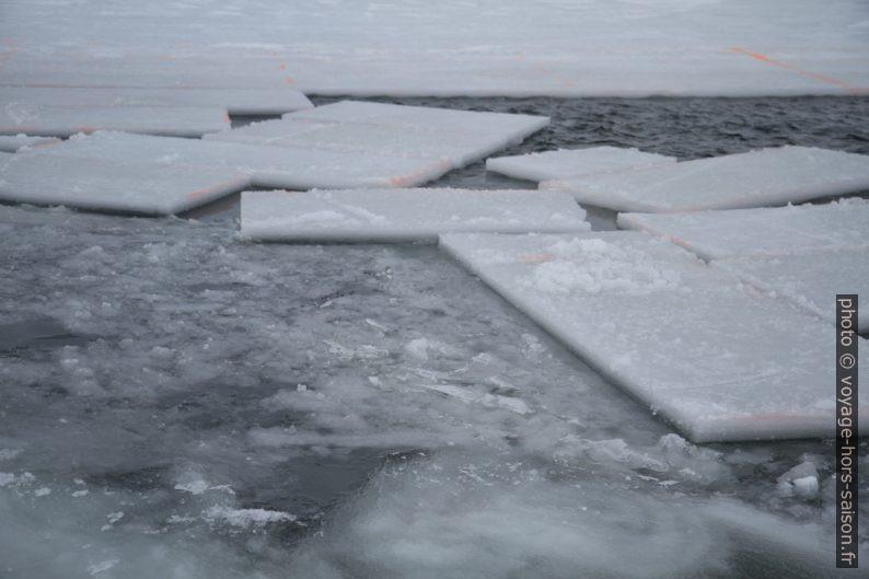 Blocs de glace découpés pour être retirés de l'eau. Photo © Alex Medwedeff