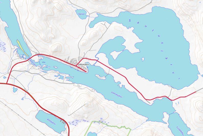 Carte OpenTopoMap de la région de Jukkasjärvi