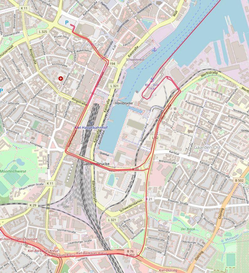 Carte OpenStreetMap de Kiel