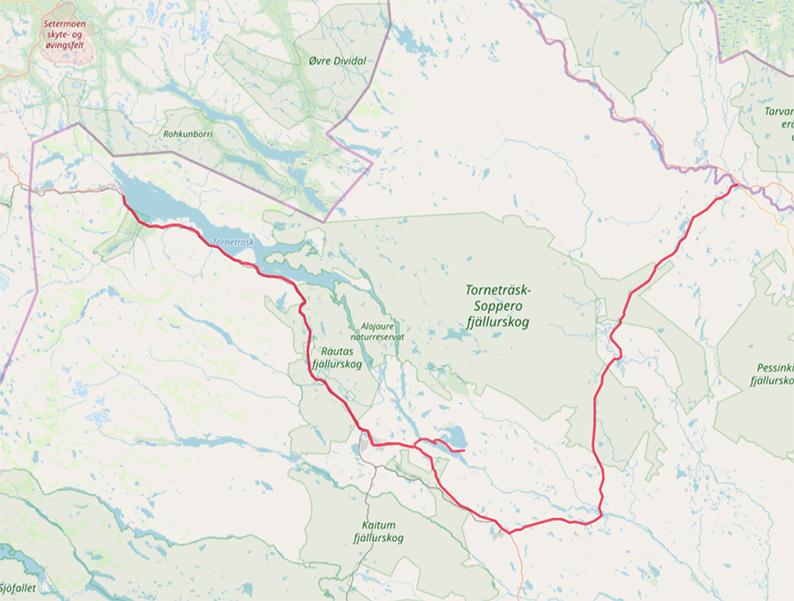 Carte OpenStreetMap Abisko - Jukkasjärvi - Karesuando