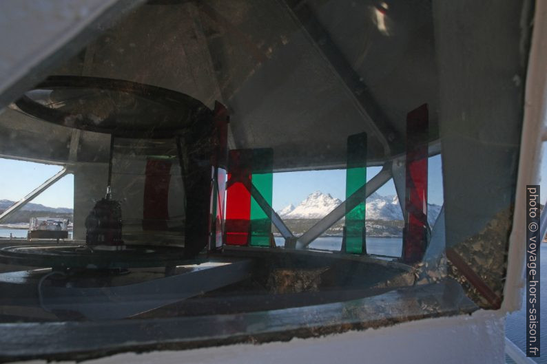 Différents secteurs du feu maritime de Brennvik