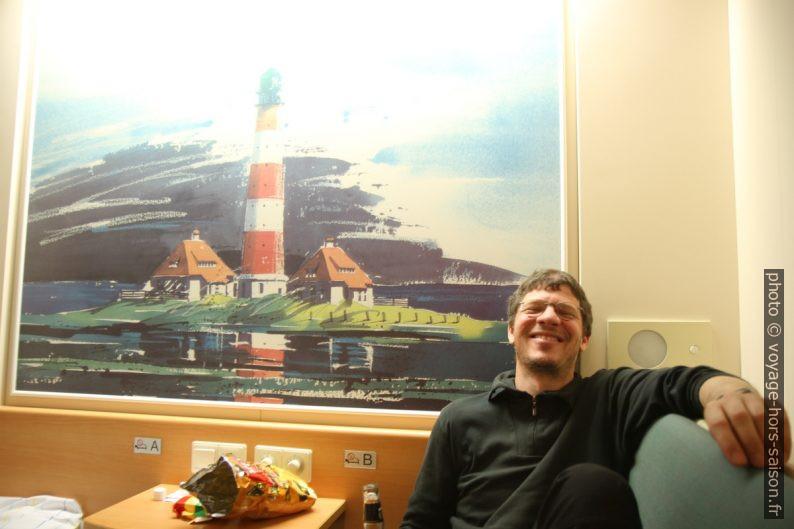André dans une cabine du ferry Nils Holgerson de la TT-Line. Photo © Alex Medwedeff