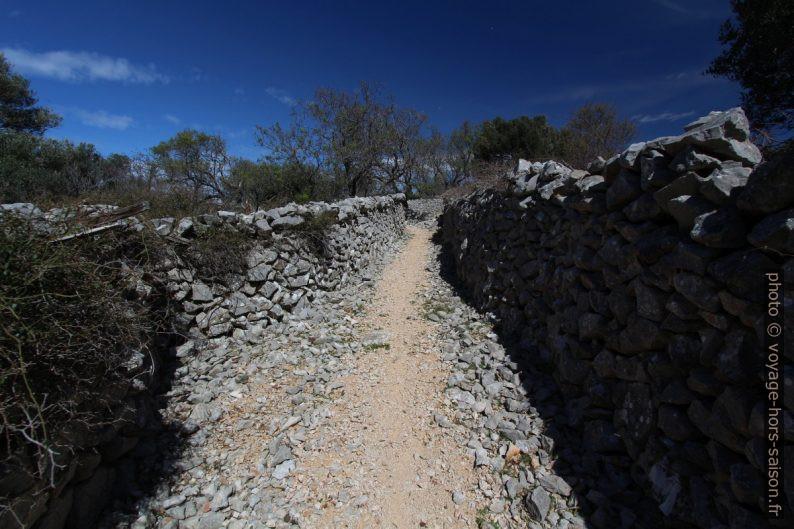 Chemin entre murs en pierre sèche. Photo © André M. Winter