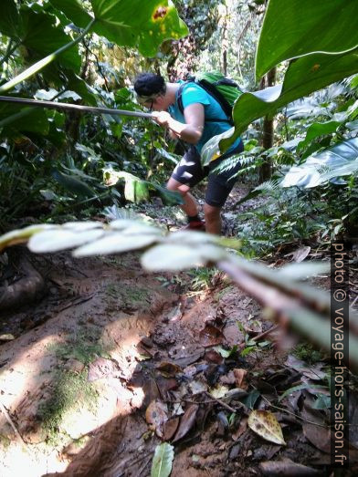 Alex descend un passage glissant à l'aide s'une corde. Photo © André M. Winter
