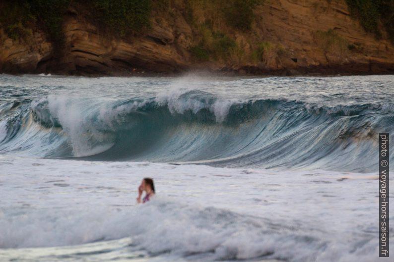 Une nageuse devant une déferlante sur la Plage de la Grande Anse. Photo © André M. Winter