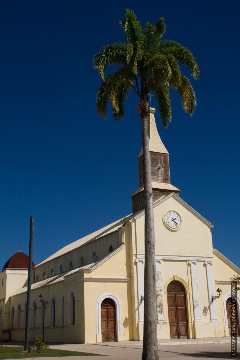 Église Notre-Dame-de-Bon-Secours et un palmier. Photo © Alex Medwedeff