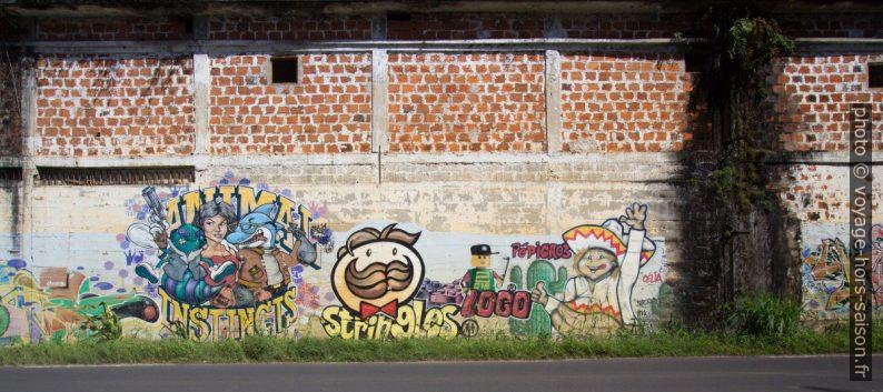 Graffitis de publicités transformées: Animal Instincts, Stringles, Logo, Pépigros. Photo © André M. Winter