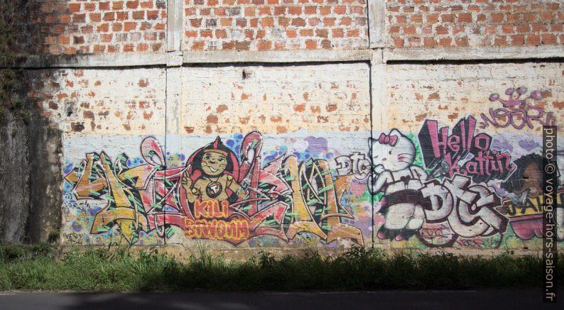 Graffitis de publicités transformées: Kili Biwoum, Hello Kattin, Jahibo. Photo © André M. Winter