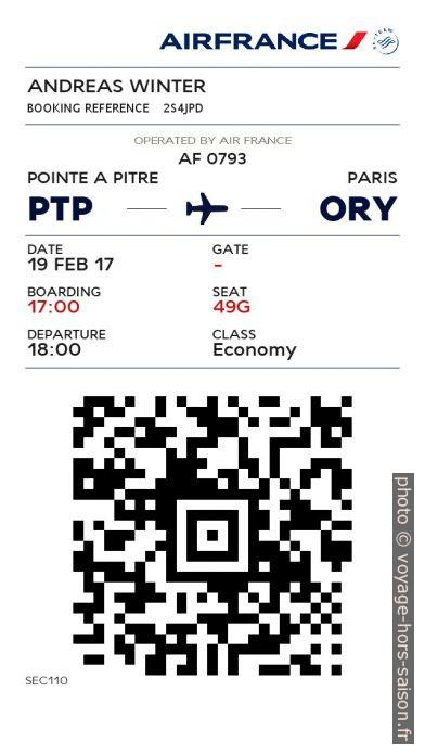 Carte d'embarquement électronique d'Air France PTP-ORY