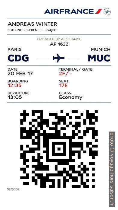 Carte d'embarquement électronique d'Air France CDG-MUC