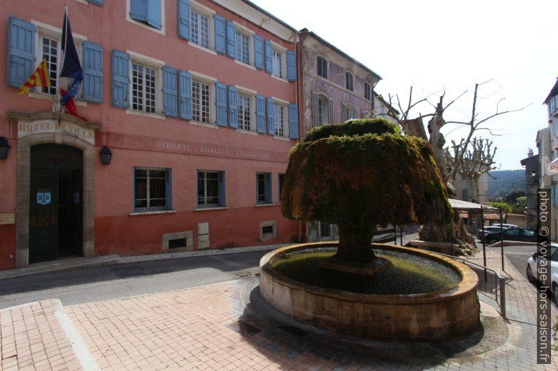 Mairie de Barjols et la fontaine du champignon. Photo © André M. Winter