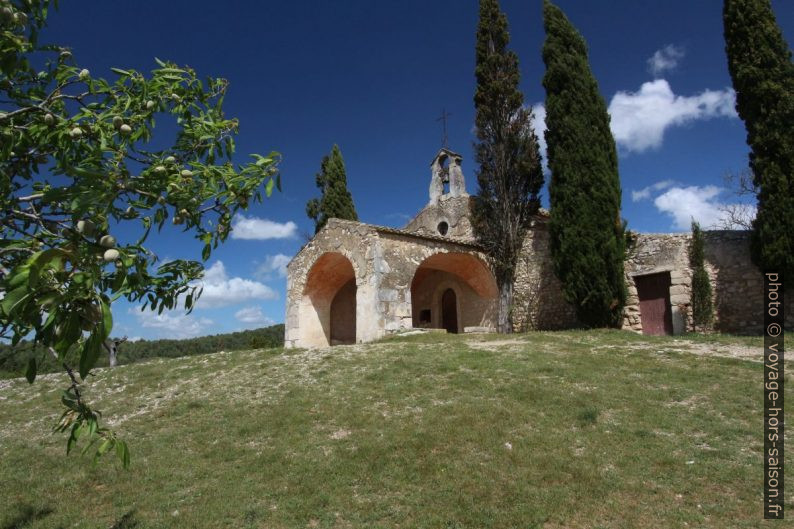 Un amandier et la chapelle St. Sixte. Photo © André M. Winter