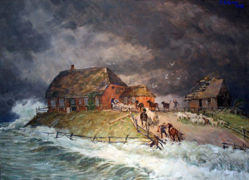 Une Hallig lors d'un raz-de-marée par Alexander Eckener , peinture de 1938, les maisons dépeintes dans le livre ressemblent plutôt à celle sur la droite