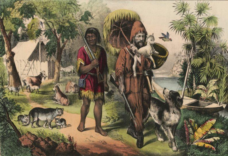 """Robinson et """"Vendredi"""", lithographie colorée de 1874 dans un livre anglais de l'éditeur Currier & Ives"""