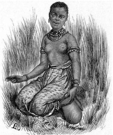 Une fille Barolong ramasse des sauterelles