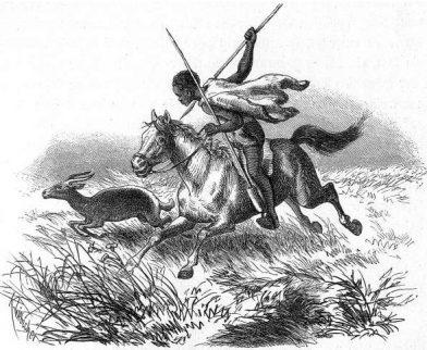 Un garçon Makalahari chasse