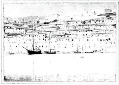 """""""Porto-ferraio s'échelonne avec ses toits plats et ses façades scintillantes de clarté"""""""