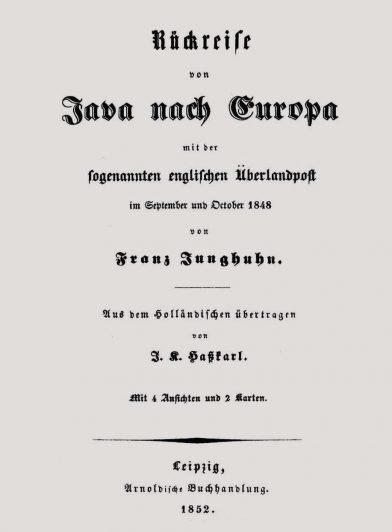 Titre allemand du livre de Junghuhn