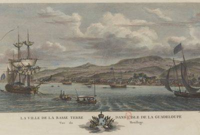 Vue du mouillage de la ville de Basse-Terre en Guadeloupe en 1776 par Nicolas Ozanne