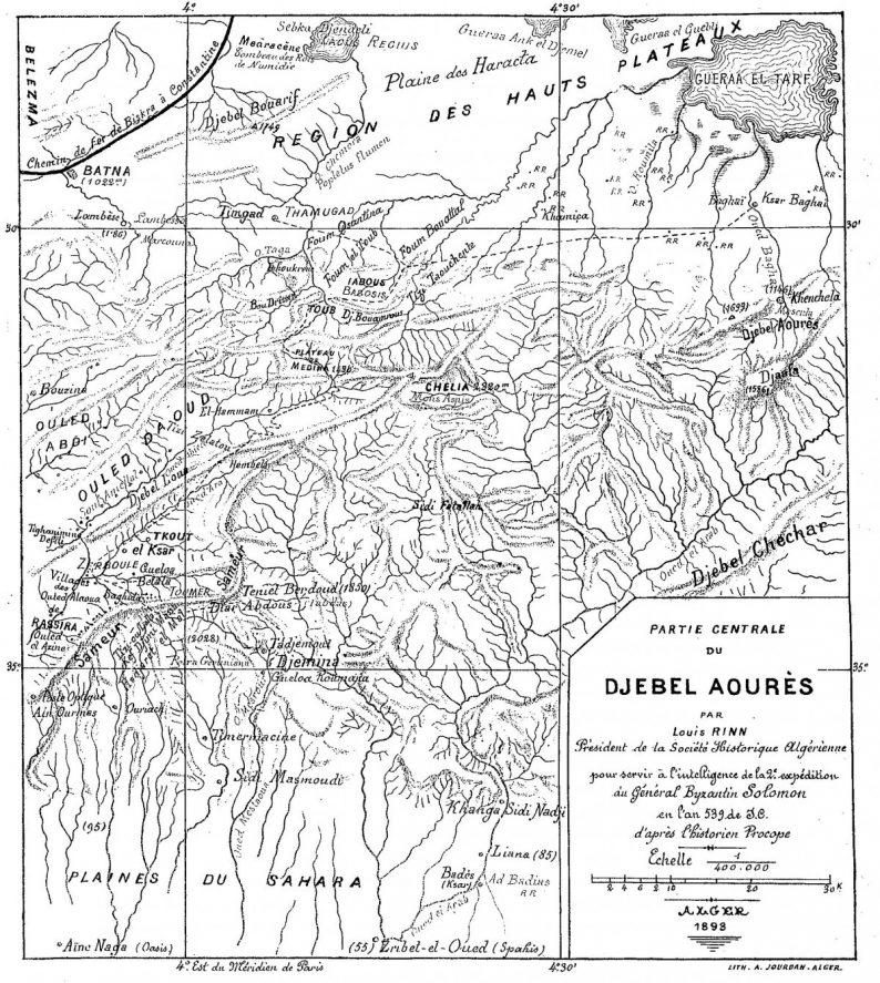 Carte du Djebel Aourès par Luis Rinn, 1893