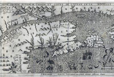 """Carte de Marc Lescarbot, """"Figvre de la terre nevve, grande riviere de Canada, et côtes de l'ocean en la Novvelle France, 1609"""". Il faisait partie de l'expédition de l'Acadie en 1603-1607, avec Pierre Dugua de Mons et Champlain."""