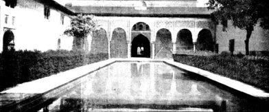 Cour des Myrtes de l'Alhambra de Grenade en 1907