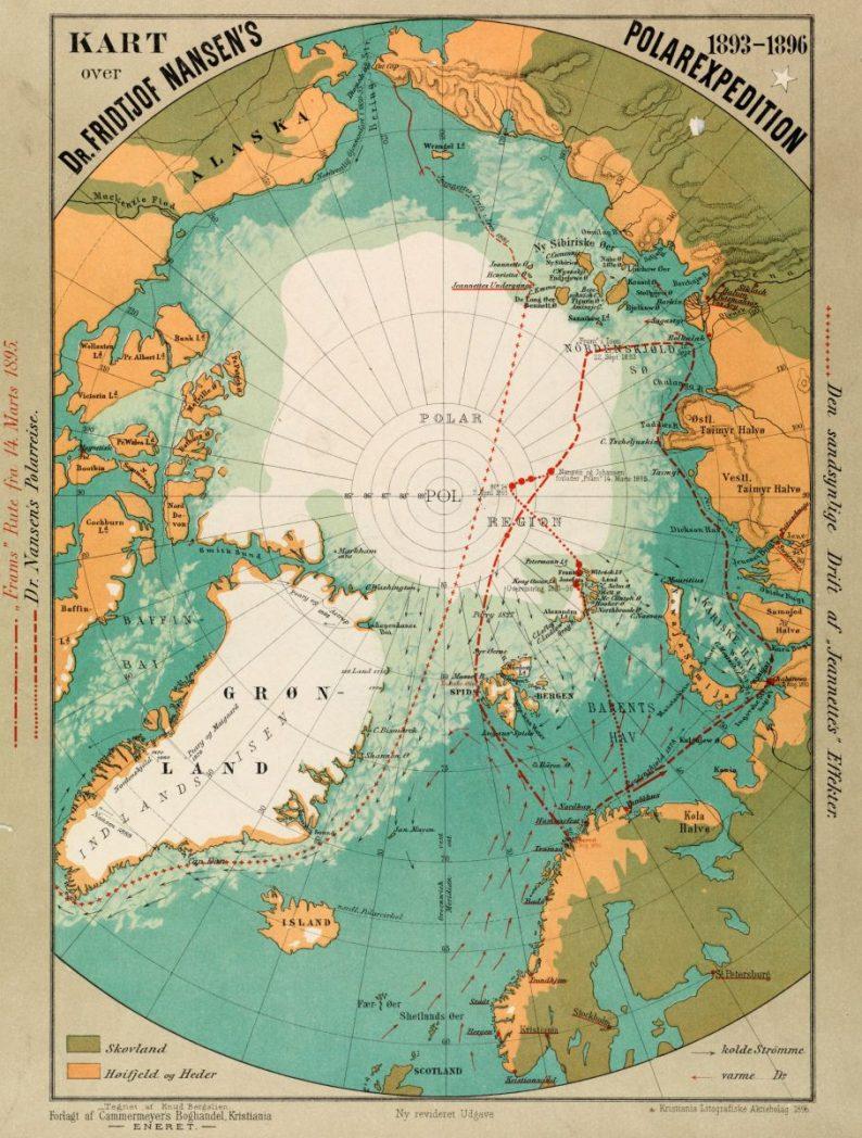 Carte de la route de Nansen et des débris de la Jeannette