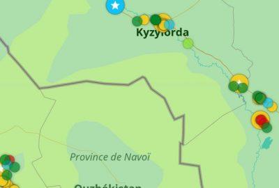 Capture d'écran avec points coloriés ajoutés pour le Kazakhstan