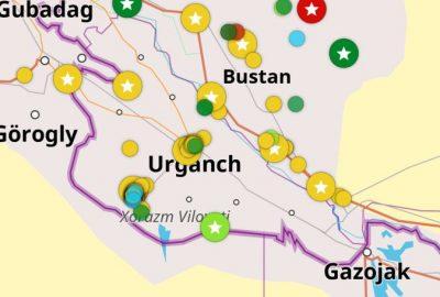 Capture d'écran avec points coloriés sur l'Ouzbékistan