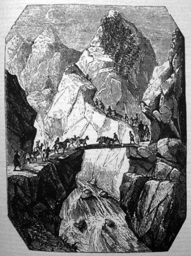 Pont de Ghiamda dans les montagnes en quittant Lhassa
