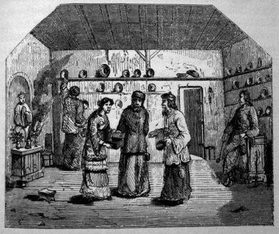 Magasin de bols en bois au Tibet