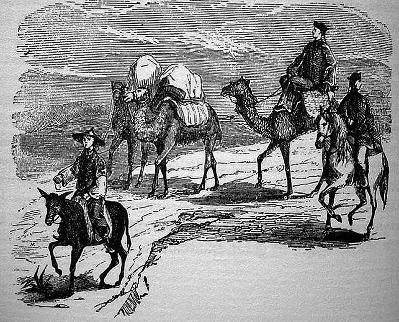 Les deux missionnaires et leur chamelier ainsi que leurs trois chameaux, le cheval blanc et la mule