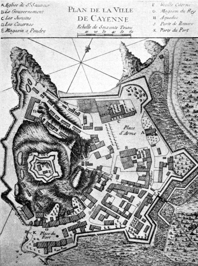 Plan de Cayenne au 18e siècle, tiré de Bellin, Description de la Guyane française