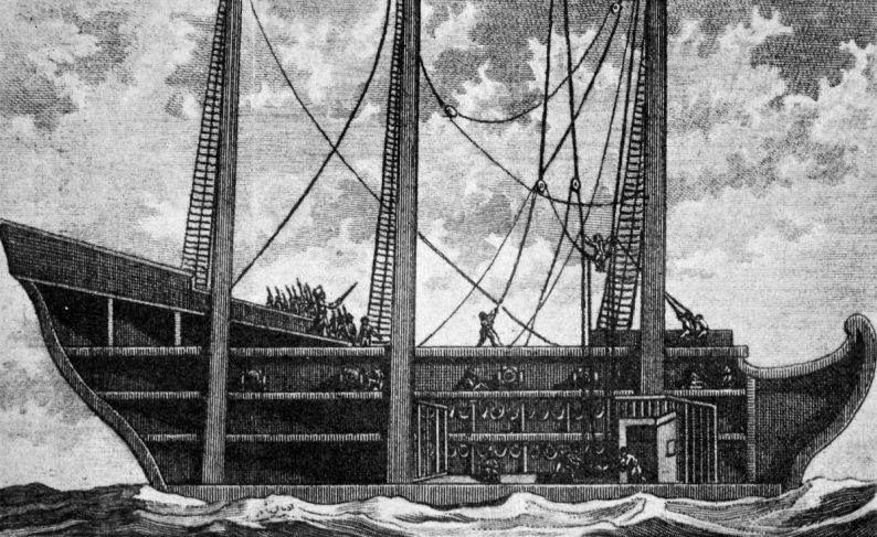 Fregatte La Charente au moment où l'on hisse à bord les vieillards et les malades, dessin par Pitou, vignette du premier tome