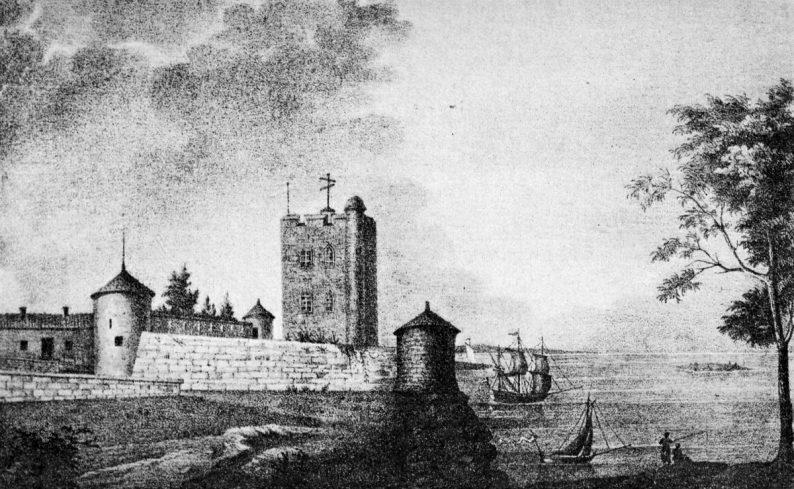 Vue de la rade de l'Île d'Aix, dessin de Béraud, lithographie de Fournier