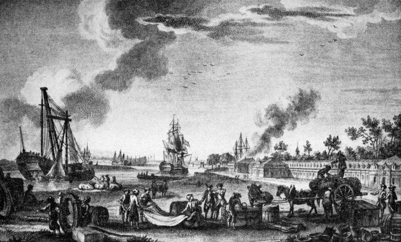 Le port de Rochefort au 18e siècle. Dessin d'Ozanne, gravure de le Guaz.