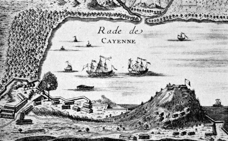 Rade de Cayenne par Pierre Barrère. Tiré de Nouvelle Relation de la France équinoxiale, 1743
