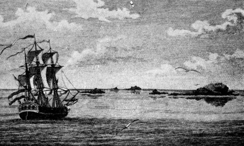 Vue des Connétables, rochers voisins de Cayenne, tiré de Stedman, Voyage à Surinam