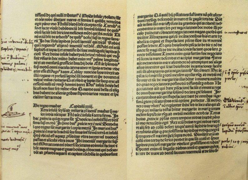 Version latine du Livre des Merveilles avec des notes de Christophe Colomb