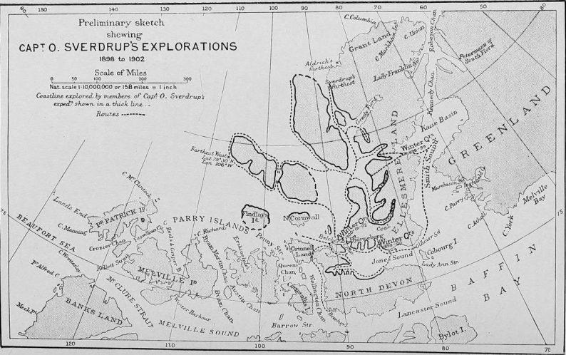 Carte des explorations par Sverdrup publiée dans un cahier de National Geographics de 1902
