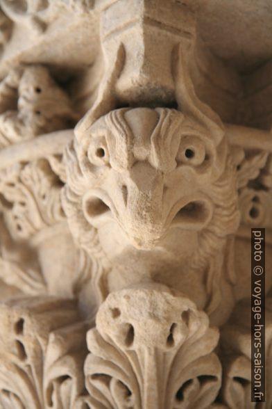Détail de chapiteau de colonne du Cloître Saint-Trophime. Photo © Alex Medwedeff
