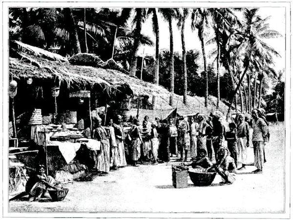 Scène de marché à Pondichéry