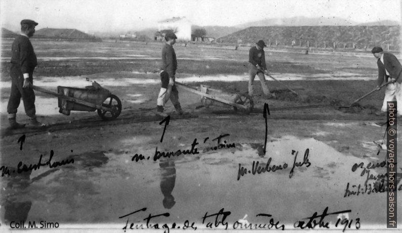 Feutrage des tables salants dans les Vieux Salins d'Hyères en 1913