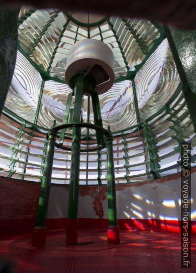 Vue dans la lentille de Fresnel du phare de Lindesnes. Photo © André M. Winter