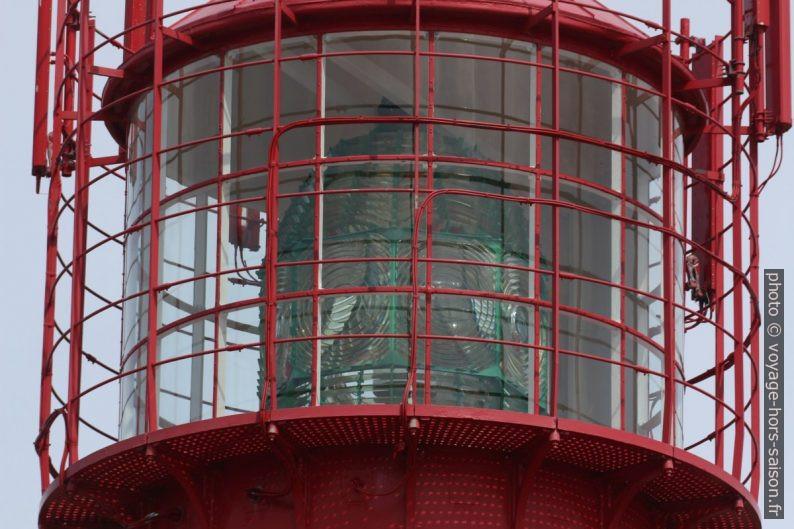 Lentille de Fesnel dans la lanterne du phare de Lindesnes. Photo © André M. Winter