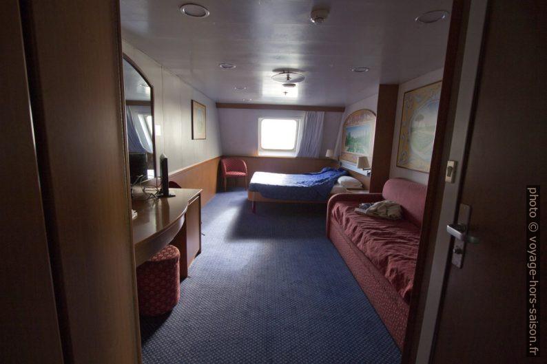 Notre cabine 7000 sur GNV Excelsior. Photo © André M. Winter