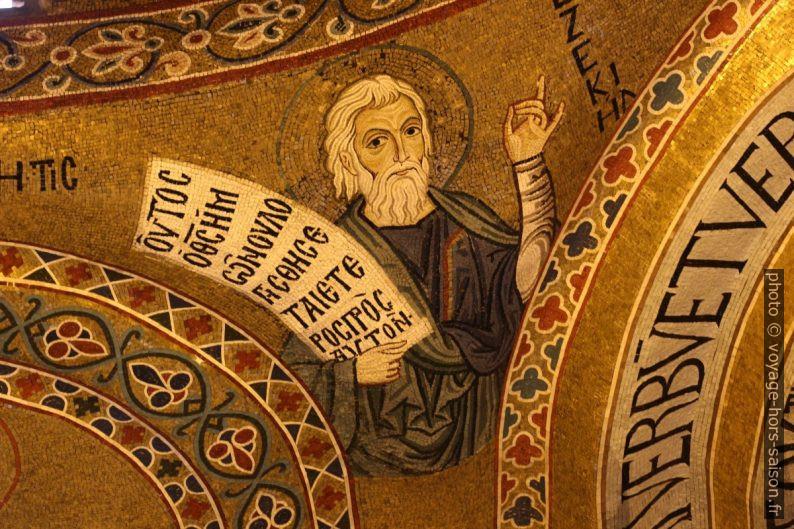 Un saint à barbe blanche en mosaïque dans la Chapelle Palatine. Photo © André M. Winter